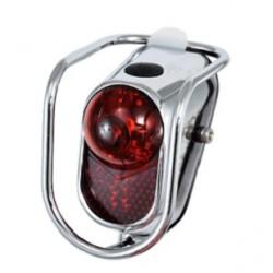 Feu rouge vintage LED à piles en acier.
